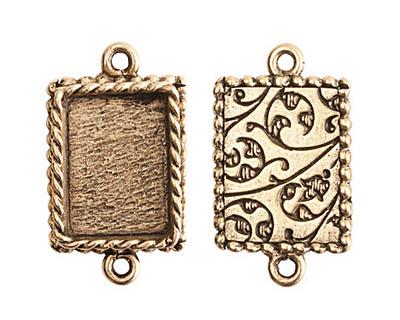 Nunn Design Antique Gold (plated) Mini Ornate Rectangle Bezel Link 24x14mm