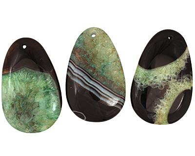 Black & Apple Green Teardrop Pendant 35x55mm