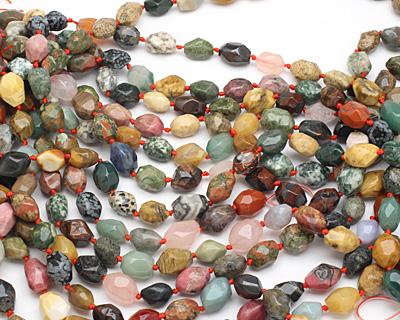 Multi Gemstone (Red Jasper, Rose Quartz, Picture Jasper, Aventurine...) Faceted Nugget 14-16x11-13mm