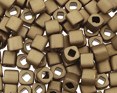 TOHO Frosted Antique Bronze Cube 4mm Seed Bead