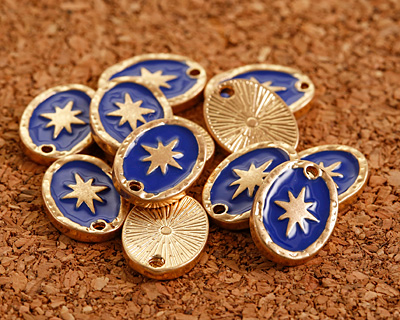 Zola Elements Cobalt Enamel Matte Gold Finish Starburst Oval Focal 11x15mm