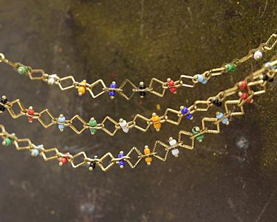 Zola Elements Multi Color Seed Bead & Diamond Brass Chain