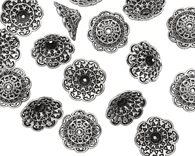 Pewter Ornate Bead Cap 8x19mm