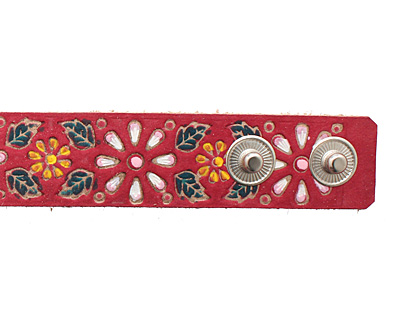 Hand Painted Red Vintage Daisy Print Leather Cuff 1 1/16