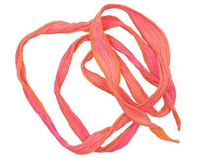Mango Blend w/ Orange Edges Hand Dyed 100% Silk Ribbon 1/2