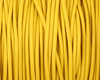 Yellow Round Leather Cord 1.5mm