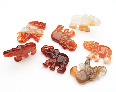 Carnelian (natural) Carved Elephant 25-27x34-36mm