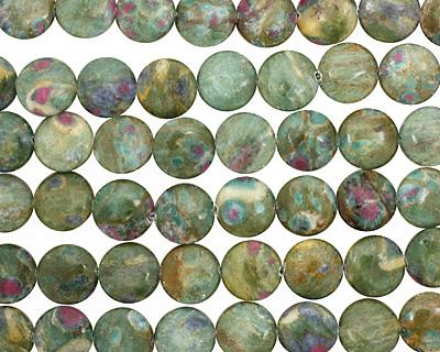 Fuchsite Ruby Puff Coin 18mm