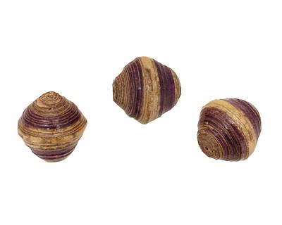 African Paper (beige, eggplant, beige) Bicone 25x22-23mm
