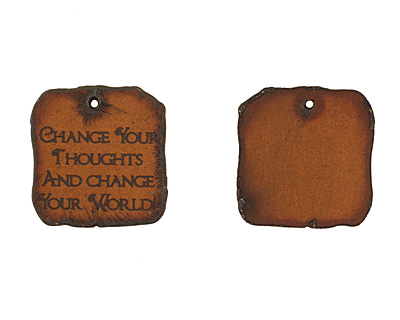 The Lipstick Ranch Etched Rusted Iron Change Your Thoughts & Change Your World Square 28mm