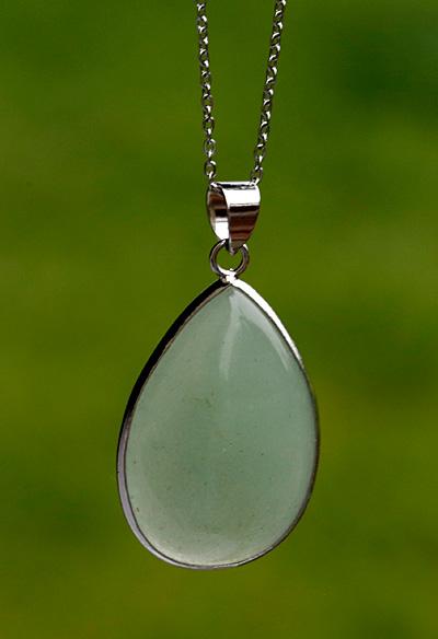 Green Aventurine Teardrop Silver Wrapped w/ Bail Pendant 22x41mm