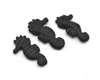 Black Onyx (matte) Carved Seahorse 33-35x16-18mm