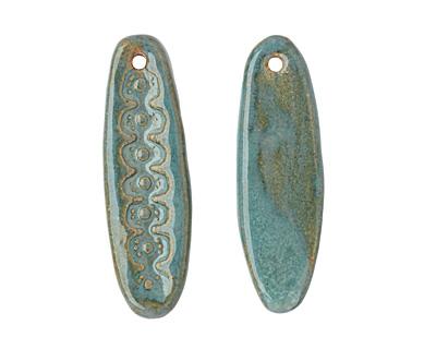 Gaea Ceramic Atlantis on Tan Snakeskin Pendant 17-18x53-58mm