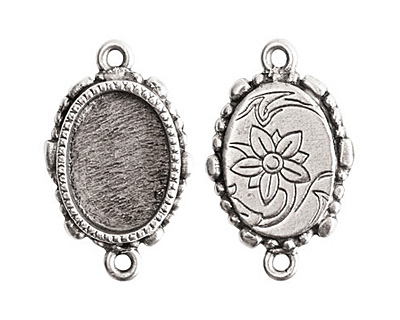 Nunn Design Sterling Silver (plated) Mini Ornate Oval Bezel Link 24x15mm