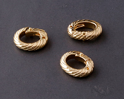 Gold (plated) Roped Ring Lobster Clasp 13x10mm