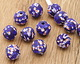 African Recycled Old Powder Glass Cobalt Spice Round Bead 15-17mm