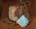Black Gold Amazonite Banner Pendant (large hole) 30x30mm