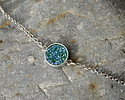 Metallic Turquoise Crystal Druzy Coin Link in Silver Finish Bezel 16x11mm