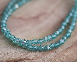 Czech Glass Aquamarine w/ Mercury Luster English Cut Bead 4mm