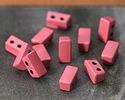 Rose Enamel 2-Hole Tile Thin Rectangle Bead 4x8mm
