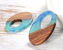 Walnut Wood & Nautical Swirl Resin Oval Off-Center Hoop Focal 22x35mm