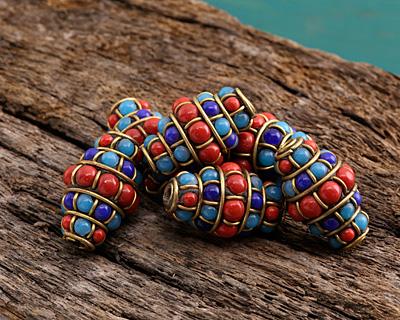 Tibetan Brass Rice Bead w/ Coral, Lapis & Turquoise 25-27x16-18mm