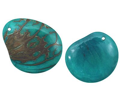Tagua Nut Turquoise Groovy Slice 25-35x30-42mm