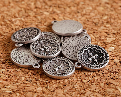 Zola Elements Antique Silver (plated) Small Ornate Cross Coin Charm 12x15mm