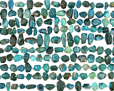 Chrysocolla Faceted Nugget 5-12x7-13mm