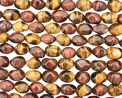 Tiger Eye (multi) Faceted Tumbled Nugget 14-17x12-13mm