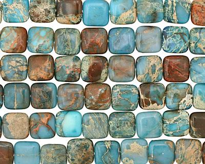 Turquoise Impression Jasper Puff Square 16mm