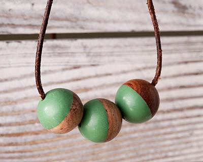 Walnut Wood & Vintage Turquoise Resin Bead 15mm