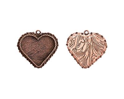 Nunn Design Antique Copper (plated) Large Ornate Heart Bezel Pendant 40x37mm