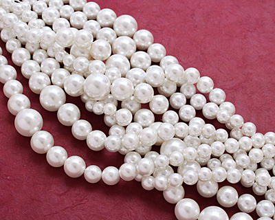 Pearly White Shell Pearl Graduated Round 8-16mm