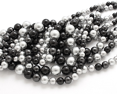 Grayscale Shell Pearl Mix Graduated Round 8-16mm