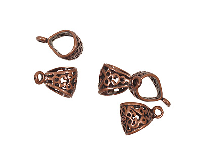 Antique Copper (plated) Large Filigree Bail 12x18mm