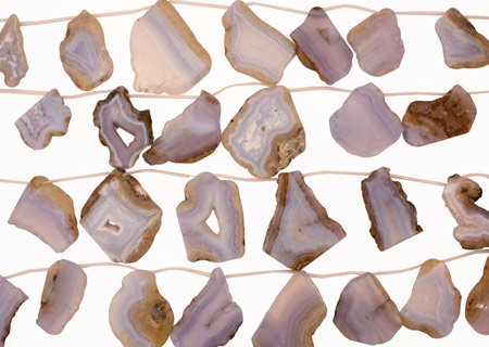 Chalcedony Natural Edge Flat Freeform Drops Graduated 18-39x30-55mm