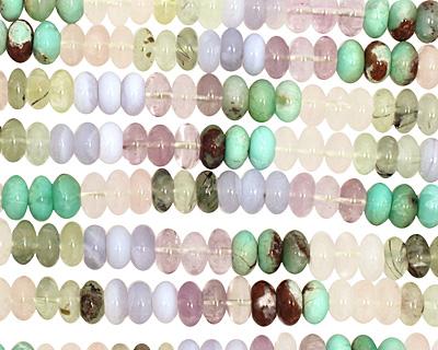 Multi Stone (chrysoprase, chalcedony, green tourmaline) Rondelle 6x10mm