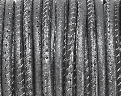 Steel Grey (metallic) Stitched Nappa Round Leather Cord 2.5mm