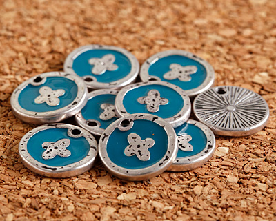 Zola Elements Peacock Enamel Antique Silver (plated) Cross Coin Focal 13mm