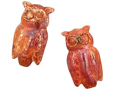 Patricia Healey Copper Owl Pendant 17x31mm