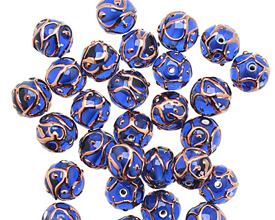 Czech Lampwork Cobalt w/ Rose Gold Round 11-13mm