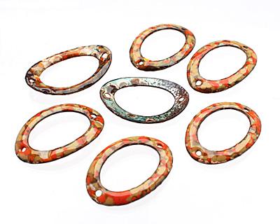 C-Koop Enameled Metal Orange Mix Large Oval Link 34-38x24-25mm