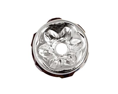 Silver (plated) Amethyst Rhinestone Rondelle 4x8mm