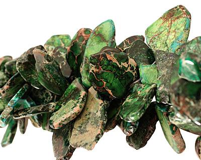 Green Impression Jasper Flat Freeform Drop Graduated 5-36x15-50mm