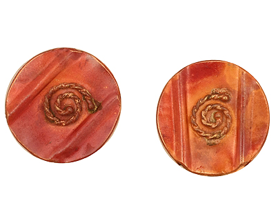 Patricia Healey Copper Round w/ Rope Spiral 2 Hole Bead 19mm