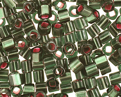 TOHO Olivine (with Frosted Silver & Pink Lining) Cube 1.5mm Seed Bead
