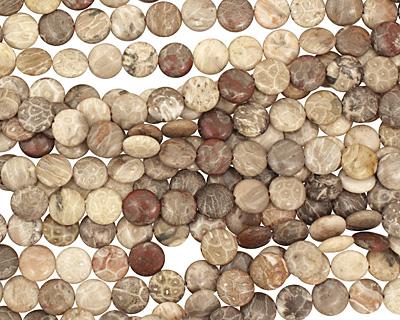 Gray Fossil Jasper Puff Coin 12mm