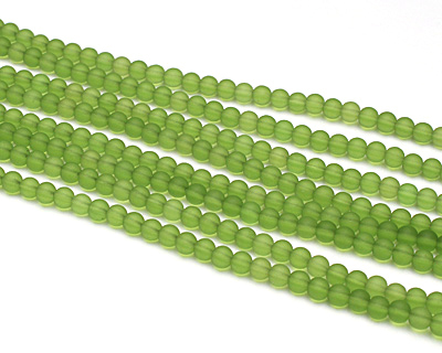 Olive Recycled Glass Round 4mm