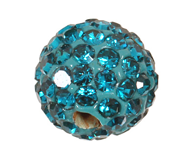 Teal Pave Round 8mm